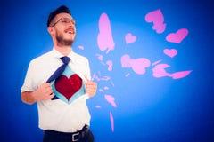 Samengesteld beeld van geeky superherostijl van het hipster openingsoverhemd stock fotografie