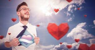 Samengesteld beeld van geeky superherostijl van het hipster openingsoverhemd royalty-vrije stock foto's