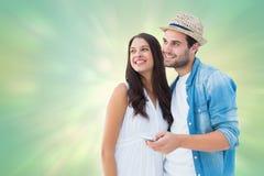 Samengesteld beeld van gelukkig hipsterpaar die samen glimlachen Royalty-vrije Stock Foto