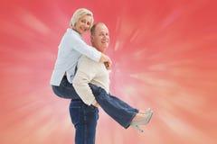 Samengesteld beeld van gelukkig rijp paar die pret hebben Royalty-vrije Stock Fotografie