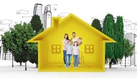 Samengesteld beeld van gelukkige familie met kruidenierswinkelzakken Royalty-vrije Stock Foto's
