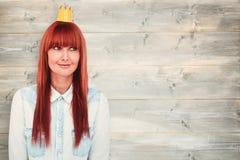 Samengesteld beeld van gelukkige hipstervrouw met bekroond royalty-vrije stock fotografie