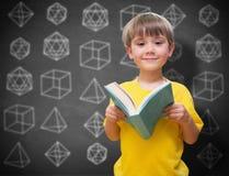 Samengesteld beeld van gelukkige leerling met boek Stock Foto's