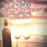 Samengesteld beeld van gelukkige voorzittersdag typografie stock foto