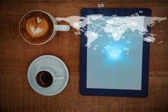 Samengesteld beeld van globale 3d technologieachtergrond Royalty-vrije Stock Afbeeldingen