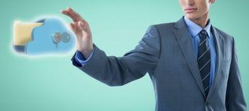 Samengesteld beeld van goed het geklede jonge zakenman 3d gesturing Stock Foto's