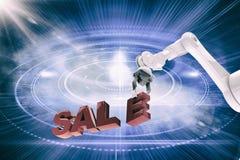 Samengesteld beeld van grafisch beeld die van robotachtig wapen 3d verkooptekst schikken Royalty-vrije Stock Foto's