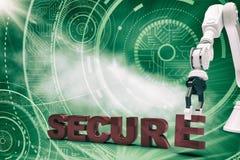 Samengesteld beeld van grafisch beeld die van robotachtig wapen veilige 3d teksten schikken Royalty-vrije Stock Afbeeldingen