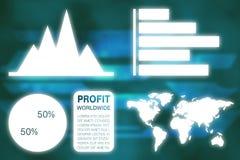 Samengesteld beeld van grafisch beeld van bedrijfspresentatie met grafieken en kaart vector illustratie