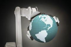Samengesteld beeld van grafisch beeld van 3d de bol van de machineholding Stock Foto's