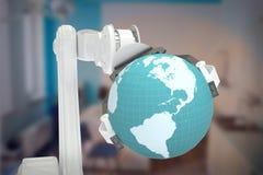 Samengesteld beeld van grafisch beeld van 3d de bol van de machineholding Royalty-vrije Stock Foto's