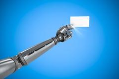 Samengesteld beeld van grafisch beeld van het robotachtige 3d aanplakbiljet van de wapenholding Stock Foto