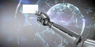 Samengesteld beeld van grafisch beeld van het robotachtige 3d aanplakbiljet van de wapenholding Royalty-vrije Stock Fotografie