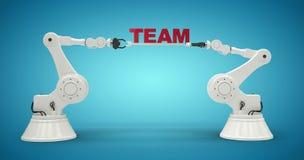Samengesteld beeld van grafisch beeld van robotachtige wapens die tekst 3d houden Stock Afbeeldingen