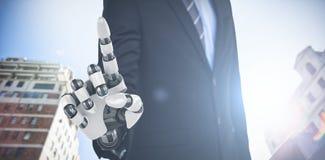 Samengesteld beeld van grafisch beeld van zakenman met robotachtig 3d wapen Royalty-vrije Stock Afbeeldingen