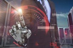 Samengesteld beeld van grafisch beeld van zakenman met robotachtige 3d hand Stock Afbeelding