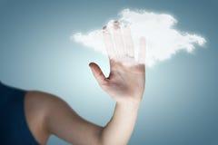 Samengesteld beeld van hand van vrouw wat betreft het onzichtbare 3d scherm Stock Afbeeldingen
