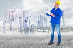 Samengesteld beeld van handarbeider het kijken omhoog terwijl het schrijven op klembord Stock Afbeelding