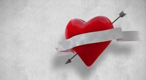 Samengesteld beeld van hart met 3d rol Stock Foto's