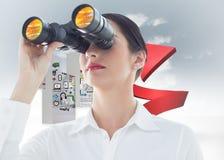 Samengesteld beeld van het bedrijfsvrouw kijken door verrekijkers Stock Afbeelding