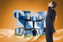 Samengesteld beeld van het denken van zakenman krassend hoofd Stock Afbeelding