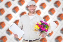 Samengesteld beeld van het gelukkige klembord van de de mensenholding van de bloemlevering Royalty-vrije Stock Afbeelding