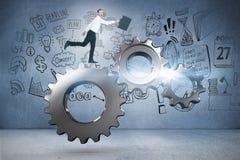 Samengesteld beeld van het gelukkige zakenman springen met zijn aktentas Stock Foto's