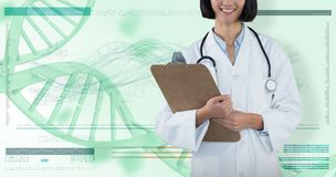 Samengesteld beeld van het klembord van de artsenholding tegen grijze achtergrond stock foto