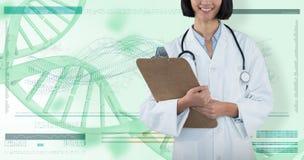 Samengesteld beeld van het klembord van de artsenholding tegen grijze achtergrond stock afbeelding