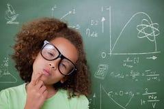 Samengesteld beeld van het leuke leerling denken Stock Foto's