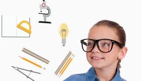 Samengesteld beeld van het leuke leerling glimlachen Royalty-vrije Stock Fotografie