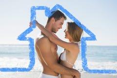 Samengesteld beeld van het sexy paar omhelzen Royalty-vrije Stock Foto