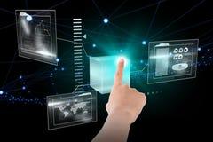 Samengesteld beeld van het vrouwelijke hand 3d richten Royalty-vrije Stock Fotografie