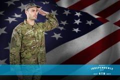 Samengesteld beeld van het zekere militaire militair groeten Stock Foto