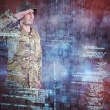 Samengesteld beeld van het zekere militaire militair groeten Stock Foto's
