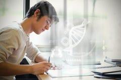 Samengesteld beeld van illustratie van DNA stock foto