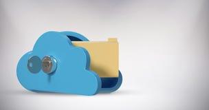 Samengesteld beeld van kast in wolkenvorm met 3d omslag Stock Foto's