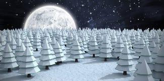 Samengesteld beeld van Kerstmisbomen op gebied tijdens de winter royalty-vrije stock afbeeldingen