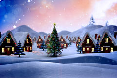 Samengesteld beeld van leuk Kerstmisdorp Royalty-vrije Stock Foto