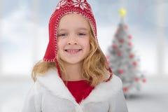 Samengesteld beeld van leuk meisje in hoed Stock Afbeeldingen