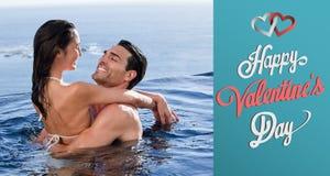 Samengesteld beeld van leuk valentijnskaartenpaar Royalty-vrije Stock Foto's
