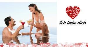 Samengesteld beeld van leuk valentijnskaartenpaar Royalty-vrije Stock Afbeelding
