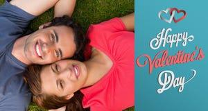 Samengesteld beeld van leuk valentijnskaartenpaar Stock Foto's