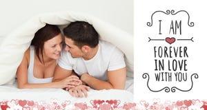 Samengesteld beeld van leuk valentijnskaartenpaar Royalty-vrije Stock Afbeeldingen