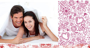 Samengesteld beeld van leuk valentijnskaartenpaar Stock Fotografie