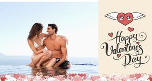 Samengesteld beeld van leuk valentijnskaartenpaar Stock Foto