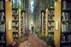 Samengesteld beeld van leuke leerling die aan het 3d bos lopen Royalty-vrije Stock Afbeelding