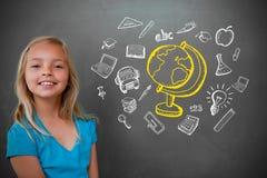 Samengesteld beeld van leuke leerling met bord Stock Afbeeldingen
