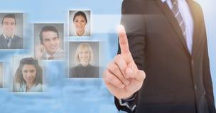 Samengesteld beeld van medio sectie die van zakenman iets benadrukken Stock Fotografie