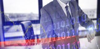 Samengesteld beeld van medio sectie van zakenman die slim horloge controleren stock afbeelding